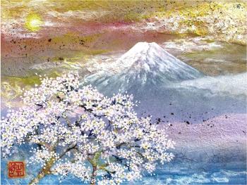 桜花富士 画寸 30.0×38.0㎝ 額寸59.0×69.0㎝