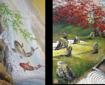 昇滝双鯉、紅葉の庭  共に画寸 60.0×38..0㎝ 額寸77.0×550㎝
