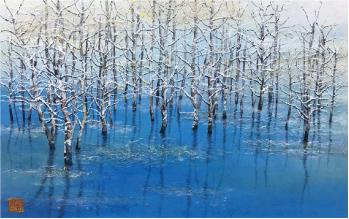 冬の大正池 画寸 38.0×60.0㎝ 額寸55.0×77.0㎝